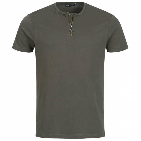 BRAVE SOUL Russell Herren Zip Neck T-Shirt MTS-69RUSSELLB Dark Khaki