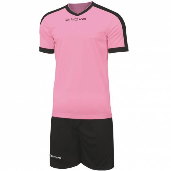 Givova Kit Revolution Camiseta de fútbol con Pantalones cortos rosa negro