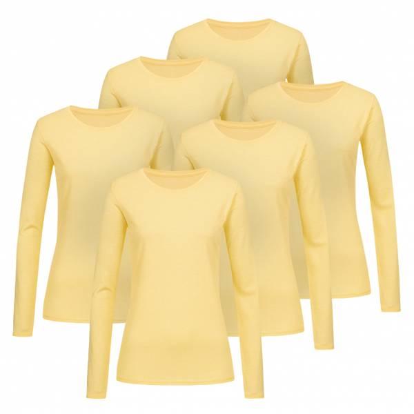 RUSSELL Longsleeve Tee 6er-Pack Damen Shirt 0R167F0-Yellow-Marl