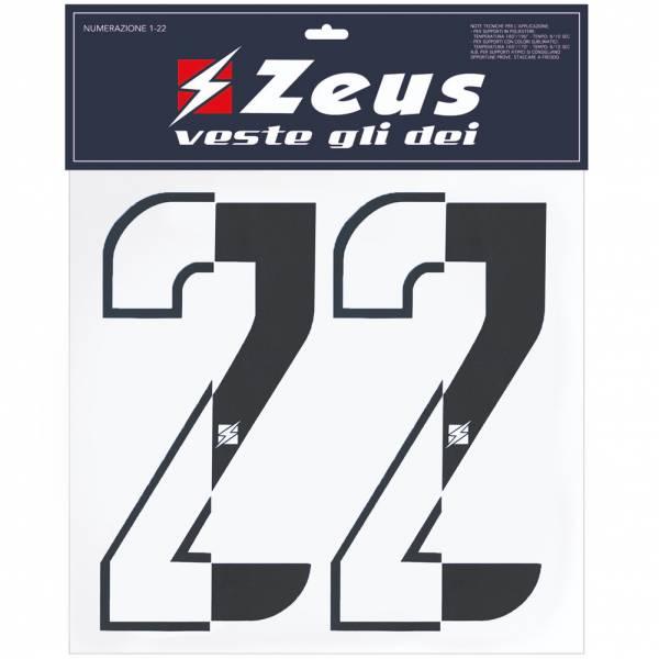 Zeus Nummern-Set 1-22 zum Aufbügeln 25cm Senior halb schwarz