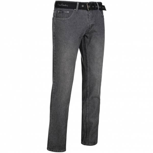 Pierre Cardin Herren Jeans Straight Leg mit Gürtel grau
