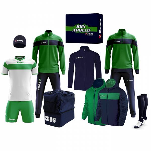 Zeus Apollo Voetbaltenue Teamkleding box 12-delig Navy Groen