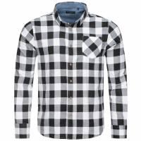 BRAVE SOUL Jack Check Print Flannel Herren Karo Hemd MSH-69JACK White/Black