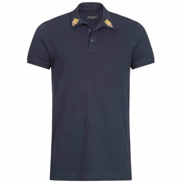 BRAVE SOUL Venom Herren X3 Button Polo-Shirt MPS-69VENOM Rich Navy