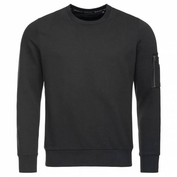 BRAVE SOUL Jacob Crew Neck Zip Pocket Herren Sweatshirt MSS-69JACOB Black