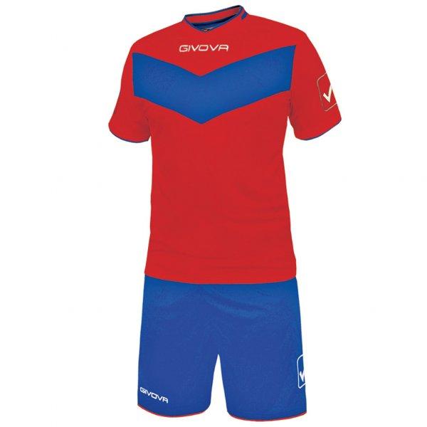 Givova Fußball Set Trikot mit Short Vittoria rot/blau