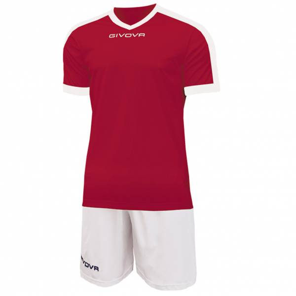 Givova Kit Revolution Fußball Trikot mit Shorts rot weiß