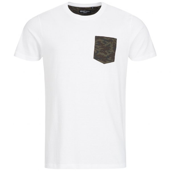 BRAVE SOUL Pulp Camo Herren Pocket T-Shirt MTS-149PULPF White