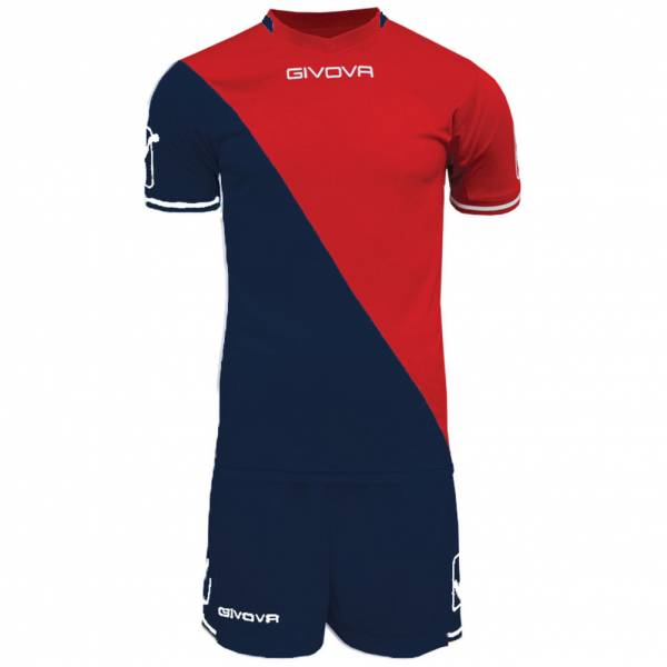 Givova Craft Fußball Set Trikot mit Shorts Kit navy/rot
