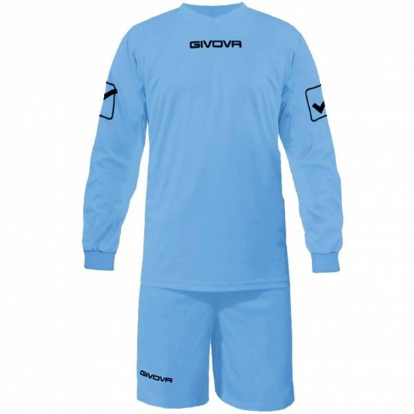 Givova Fußball Set Langarmtrikot mit Short Kit Givova hellblau