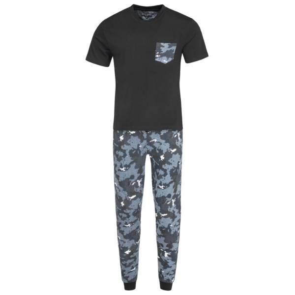 BRAVE SOUL Co-Ord Camouflage Pyjama Schlafanzug MLWS-451SAMA Black