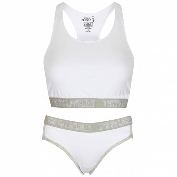 Tokyo Laundry Ava Sports Bra und Briefs Damen Set 3P9895 Optic White
