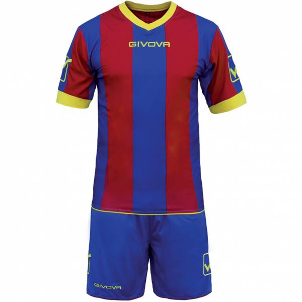 Givova Voetbaltenue Shirt met Shorts Kit Catalano blauw / donkerrood
