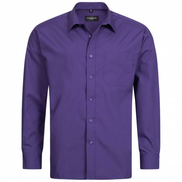 RUSSELL Longsleeve Poly Cotton Poplin Herren Shirt 0R934M0-Purple