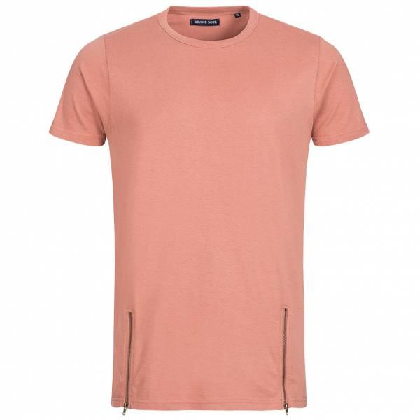 BRAVE SOUL Falcon Herren Double Zip Crew Neck T-Shirt MTS-36FALCONH Pink
