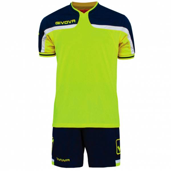Givova football set jersey with short kit America navy / neon yellow