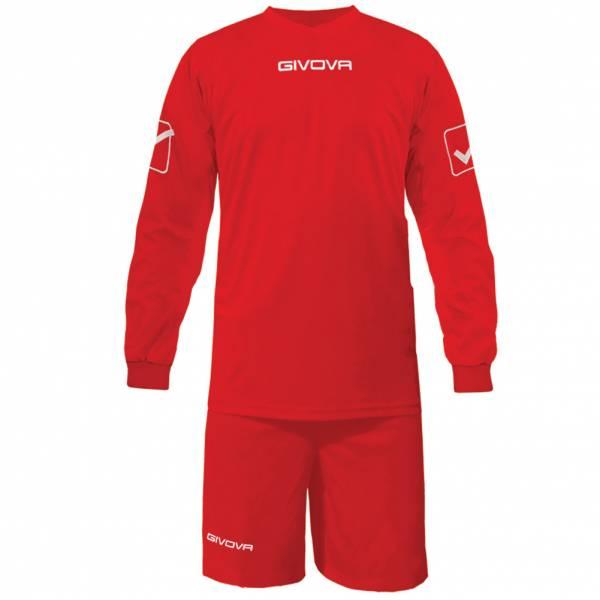 Givova Fußball Set Langarmtrikot mit Short Kit Givova rot
