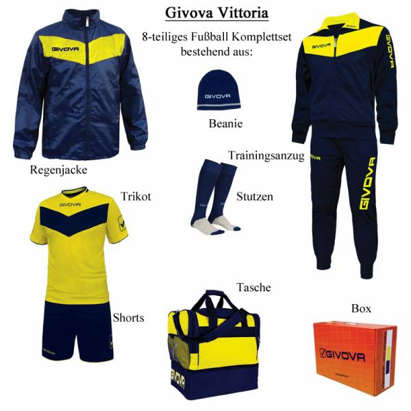 Givova Box Vittoria Fußball Set 8-tlg. navy/gelb