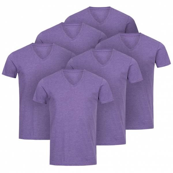 RUSSELL V-Neck Tee 6er-Pack Herren T-Shirt 0R166M0-Purple-Marl