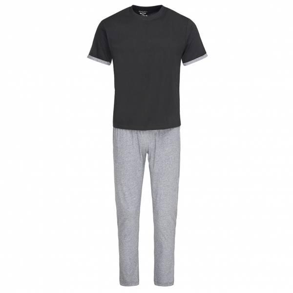 BRAVE SOUL Alvin Cotton Marl Co-Ord Pyjama Schlafanzug MLWS-451ALVINB Black