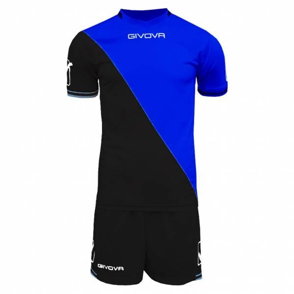 Givova Craft Fußball Set Trikot mit Shorts Kit schwarz/blau