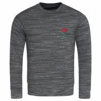 BRAVE SOUL Caspian Rose Embroidery Herren Sweatshirt MSS-500CASPIAN BLACK