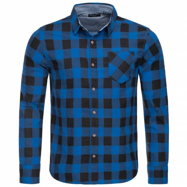 BRAVE SOUL Jack Check Print Flannel Herren Karo Hemd MSH-69JACK Blue/Black