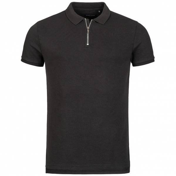BRAVE SOUL Romeo Herren Zip Neck Polo-Shirt MPS-412ROMEO Black