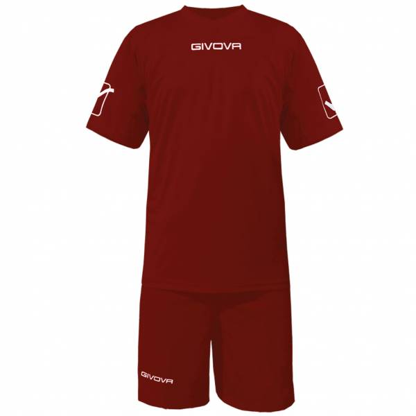 Givova Fußball Set Trikot mit Short Kit Givova dunkelrot