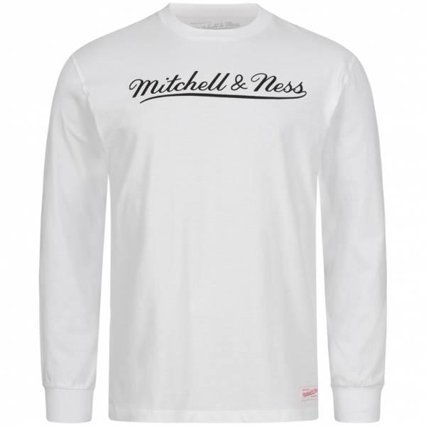 Mitchell & Ness Script Heren Shirt met lange mouw MN-BRA-SCRPTLOGOLST-BRA-WHTBLK