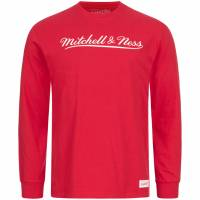 Mitchell & Ness Script Hombre Camiseta de manga larga MN-BRA-SCRPTLOGOLST-BRA-REDWHT
