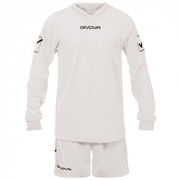 Givova voetbalset jersey met lange mouwen en shorts Leader wit