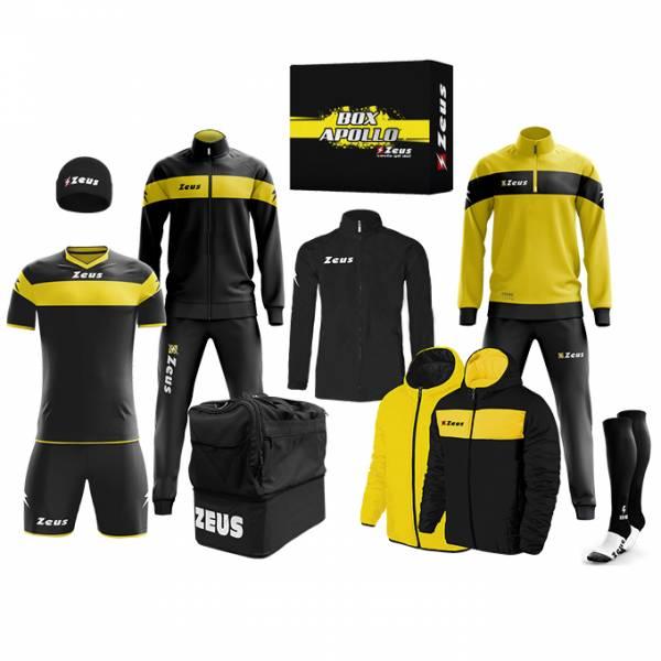 Zeus Apollo Ensemble de foot Vêtement d'équipe en coffret 12 pièces noir jaune