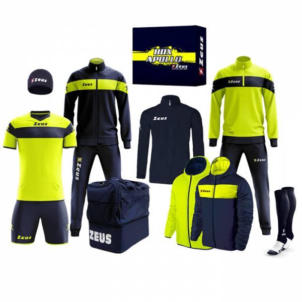 Zeus Apollo Football Kit Teamwear Box 12 pieces Navy neon yellow