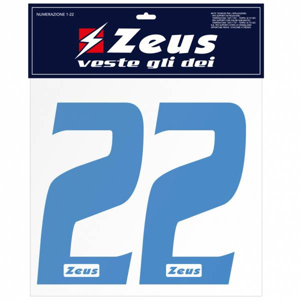 Zeus Nummern-Set 1-22 zum Aufbügeln 25cm Senior royal