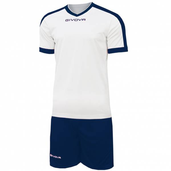 Givova Kit Revolution Football Jersey with Shorts white navy