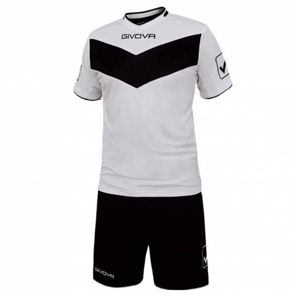 Givova Fußball Set Trikot mit Shorts Vittoria weiß/schwarz