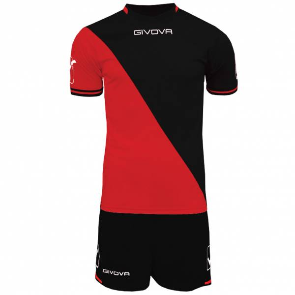 Givova Craft Ensemble de foot Maillot avec Short Kit noir / rouge