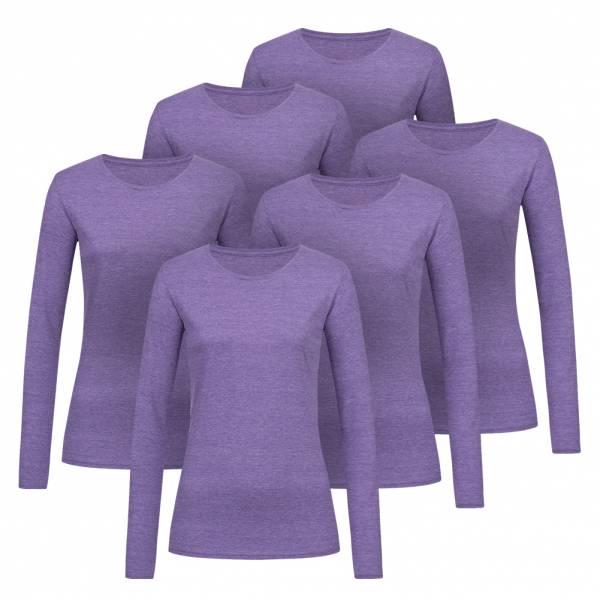 RUSSELL Longsleeve Tee 6er-Pack Damen Shirt 0R167F0-Purple-Marl
