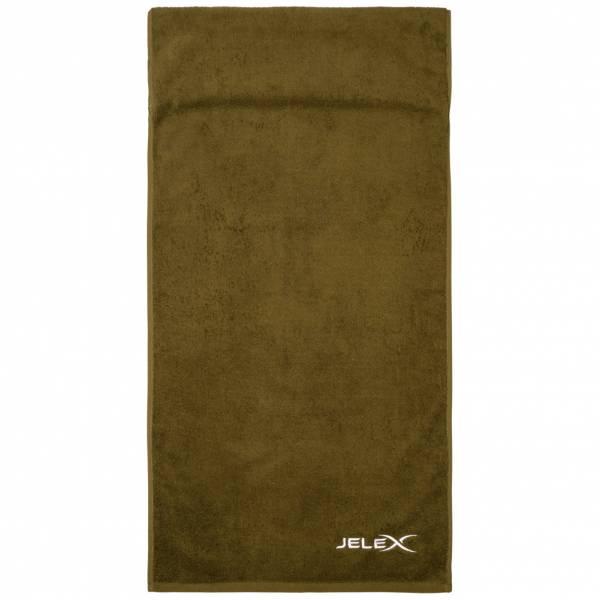 JELEX 100FIT Fitness Handtuch mit Zip-Tasche armygrün