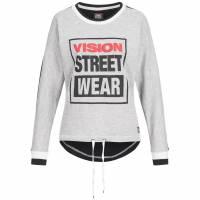 Sweat ras du cou pour femmes Vision Street Wear Sweat CL2713 gris chiné / noir