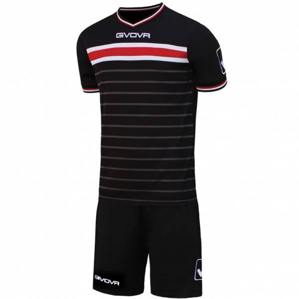 Givova Skill Set da calcio Maglietta con Shorts nero / rosso