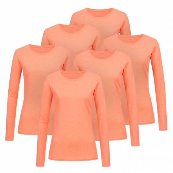 RUSSELL Longsleeve Tee 6er-Pack Damen Shirt 0R167F0-Coral-Marl