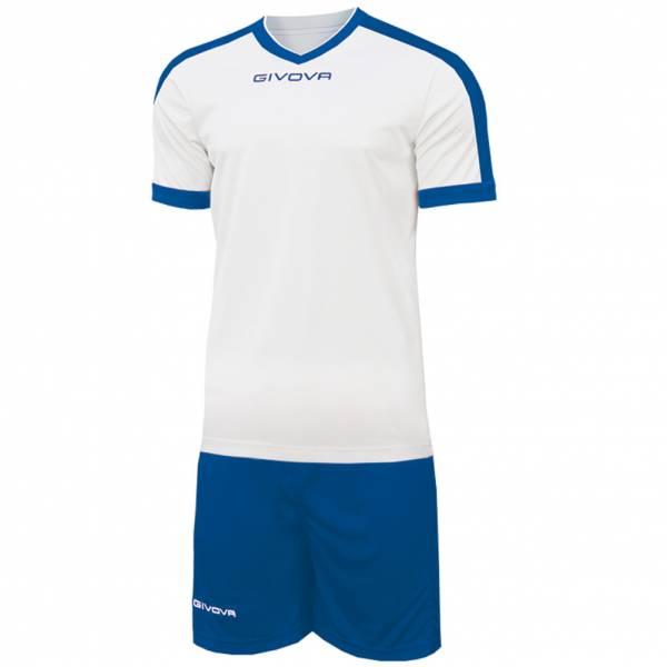 Givova Kit Revolution Fußball Trikot mit Short weiß blau