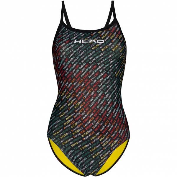 HEAD SWS Team Printed Thin Strap Mid Leg Damen Badeanzug 452568-COL