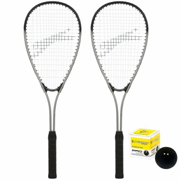 Slazenger Xcell Flame Squash Set: 2 x Squashschläger + Ball