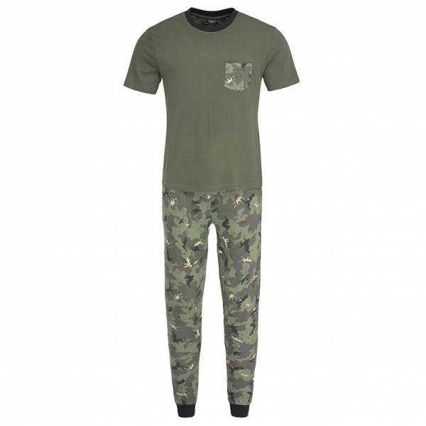 BRAVE SOUL Co-Ord Camouflage Pyjama Schlafanzug MLWS-451SAMA Khaki