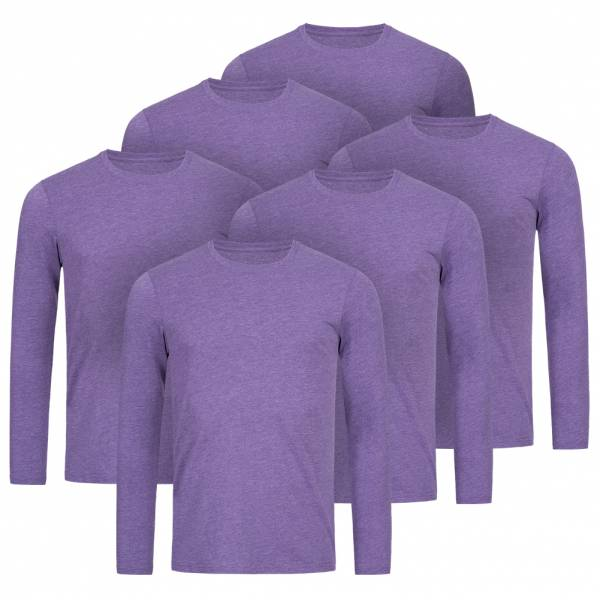 RUSSELL Longsleeve Tee 6er-Pack Herren Shirt 0R167M0-Purple-Marl