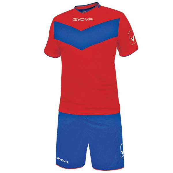 Givova football set jersey with Short Vittoria red / blue