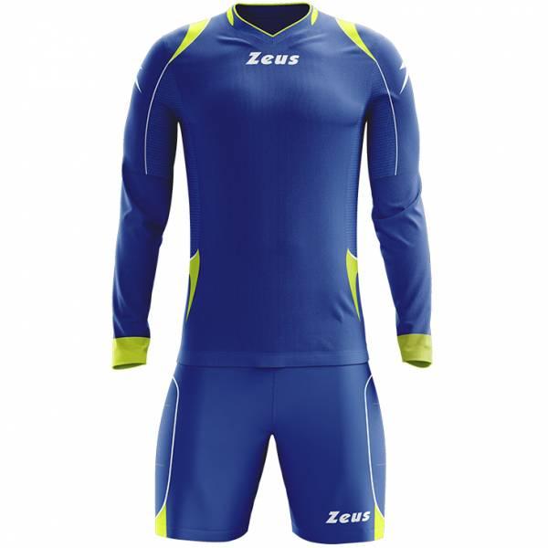 Zeus Paros Conjunto de portero Camiseta de manga larga con pantalones cortos azul neón amarillo